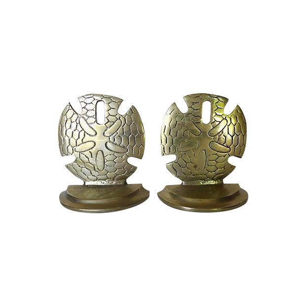 Brass Seaside Sand Dollar Bookends - A Pair - Image 1 of 7