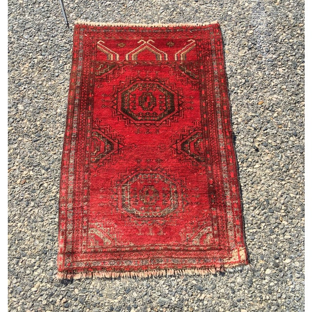 """Antique Turkaman Red Persian Rug - 1'10"""" x 2'10"""" - Image 2 of 7"""