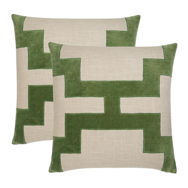 "Piper Collection Green Velvet ""Catie"" Pillows - a Pair - Image 1 of 2"