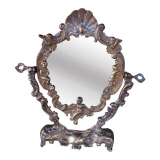 Antique Brass Swivel Neoclassical Vanity Mirror