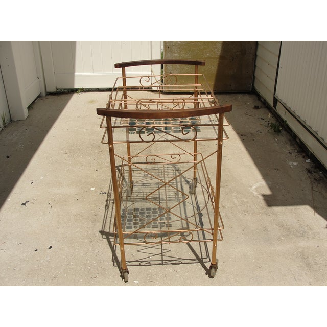1950s Atomic-Style Rolling Bar Cart - Image 9 of 10