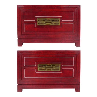 Mastercraft Mid Century Modern Mandarin Red Burl Wood Bedside Chests - a Pair