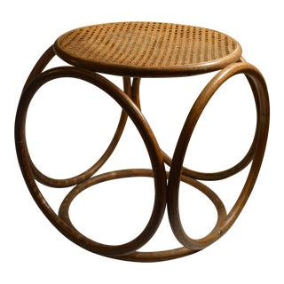 Vintage Bentwood and Cane Ottoman