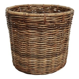 Oversized Cylindrical Wicker Planter