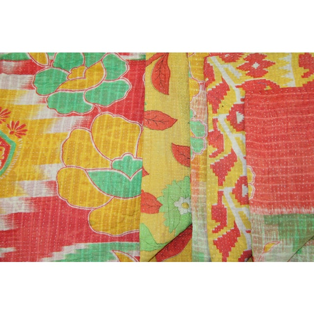 Vintage Red & Green Kantha Quilt - Image 2 of 3