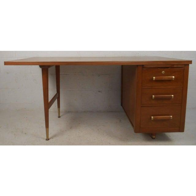 John Widdicomb Mid-Century Finished Back Executive Desk - Image 3 of 10