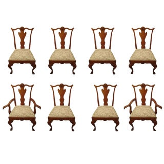 Vintage Queen Anne Style Walnut Dining Chairs - Set of 8