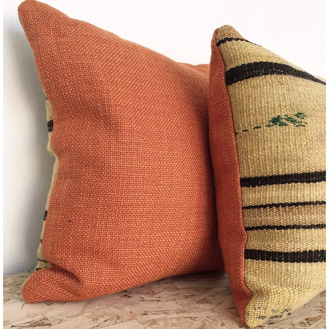 Vintage Hemp & Wool Striped Kilim Pillow - Image 3 of 5