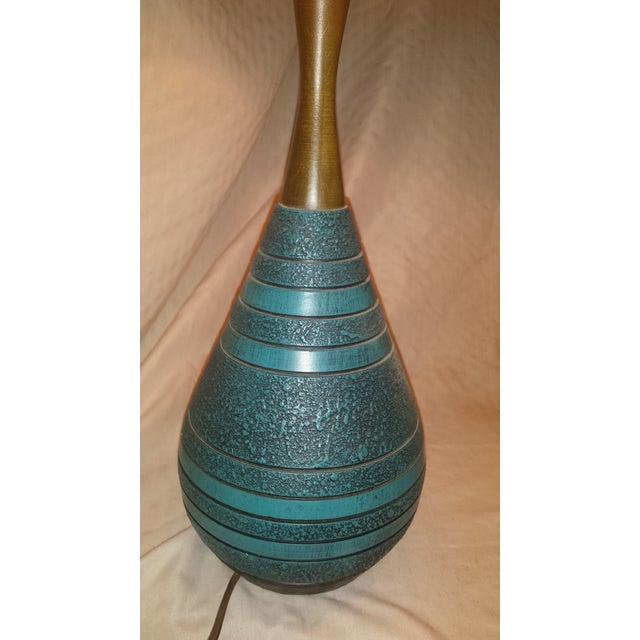 Image of Mid-Century Ceramic Turquoise & Teak Lamps - A Pair