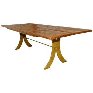 Rustic French Dining Table With Iron Base