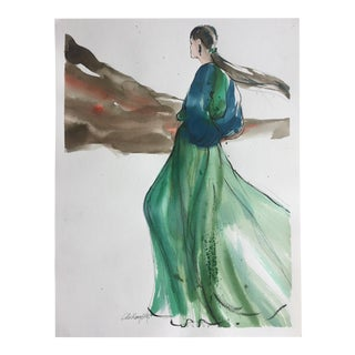 Vintage Original Fashion Watercolor Painting