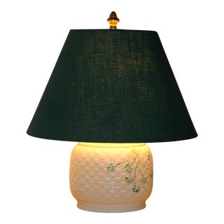 Irish Belleek Basketweave Shamrock Pattern Lamp with Original Linen Shade