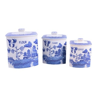 Vintage Blue Willow Ceramic Canisters - Set of 3
