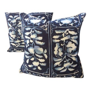 """Ralph Lauren-Arita Imperial in Navy Blue and White-22"""" Pair of Down Filled Pillows!"""