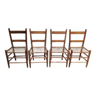 Early American Rawhide Ladderback Chairs - Set of 4
