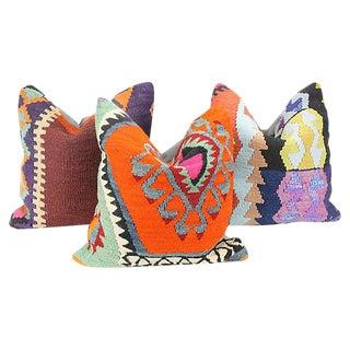 Turkish Kilim Throw Pillows - Set of 3
