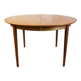 "Round Danish Modern Teak Dining Table - ""Martin"" w. 2 leaves"