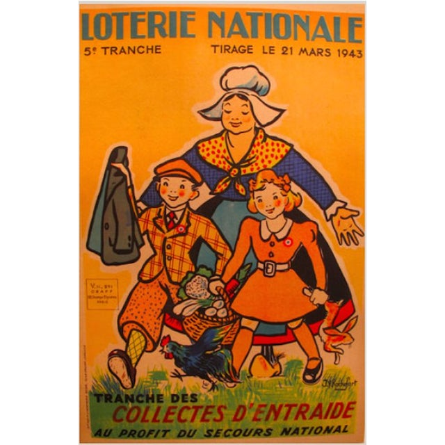 Original 1940s French Lottery Poster Collectes - Image 1 of 1