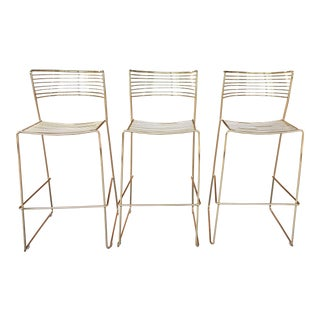 Minimal Brass Plated Barstools - Set of 3