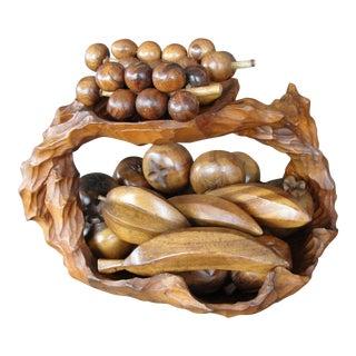 Vintage Hand Carved Teak Bowl With Fruit