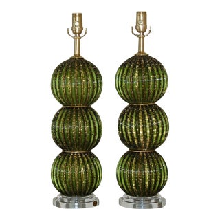 Green Stacked Ball Murano Lamps