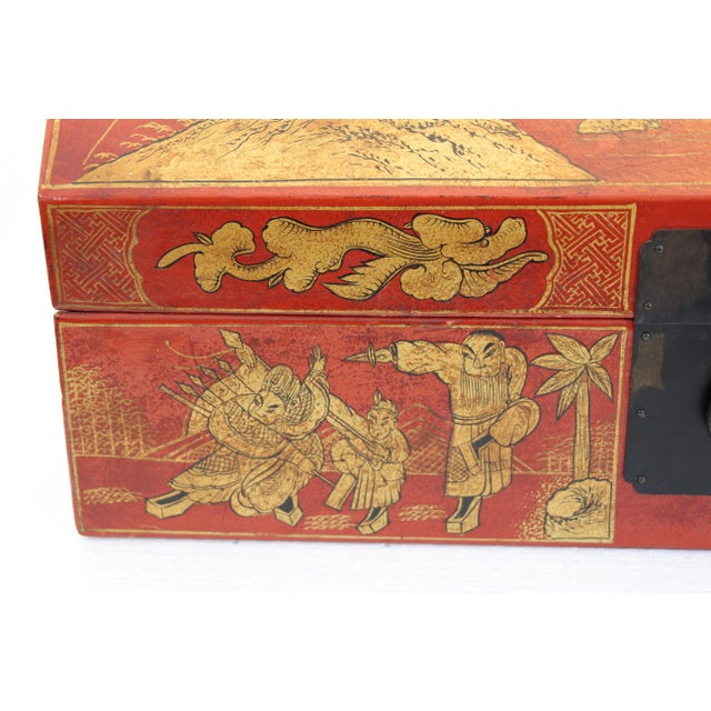 Chinese Orange Leather Tabletop Trunk - Image 7 of 8