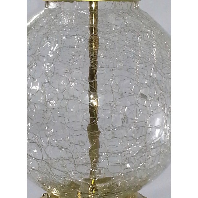 VINTAGE CRACKED GLASS AND BRASS LAMP - Image 3 of 10