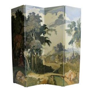 Italian Hand Painted Landscape Folding Screen