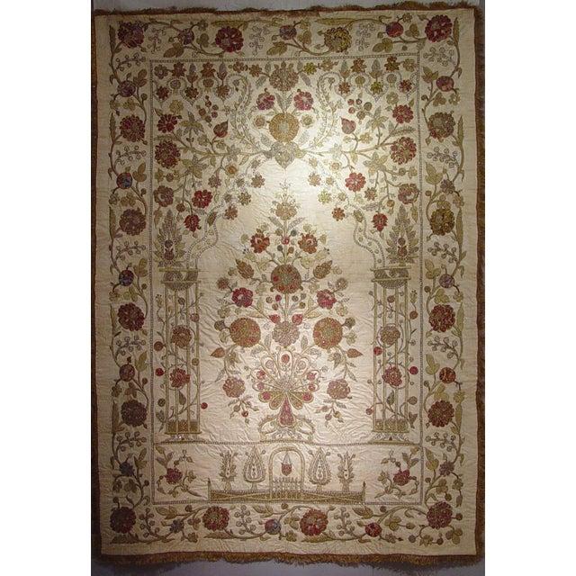 Large Ottoman Large Silkwork Textile Botanical Embroidery Hanging - Image 1 of 9