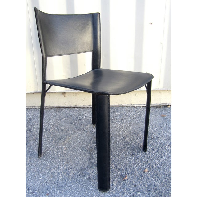 Black Leather Dining Chairs - Set of 4 - Image 3 of 6