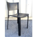 Image of Black Leather Dining Chairs - Set of 4