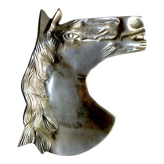 Mid-Century Modern Sculptural Metal Horse Head Ashtray or Trinket Dish