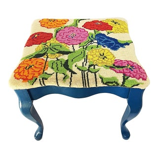 Queen Anne Needlepoint Stool