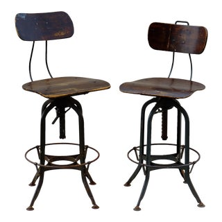 Pair of Vintage Toledo Architectural Stools- Pair
