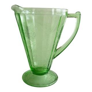 Green Glass Serving Pitcher