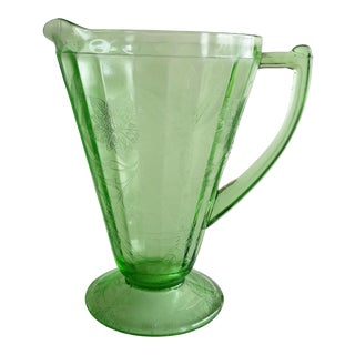 Green Glass Serving Pitcher