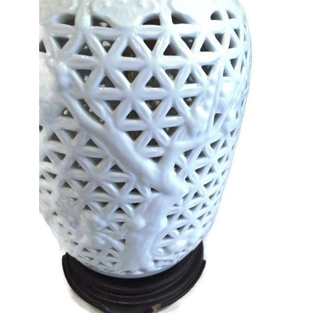 Vintage Pierced Porcelain Ginger Jar Lamps - Image 6 of 10