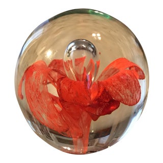 Hand Blown Coral Art Glass Paper Weight