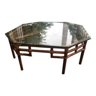Vintage Beveled Glass Top Rattan Table