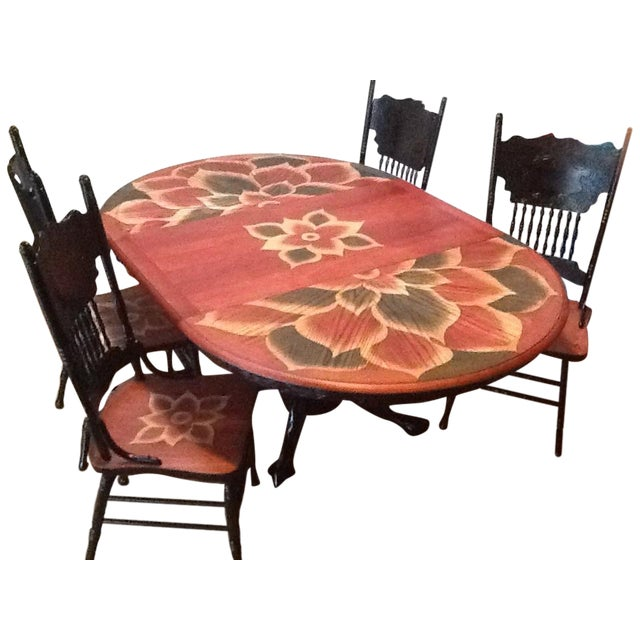 Image of Wood Stain Art Dining Table Set