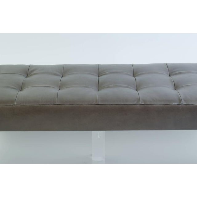 Lucite Prism Bench in Gunmetal Leather with Blind Tufting by Montage - Image 6 of 8