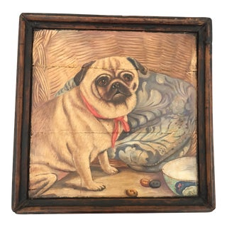 Antique Wooden Tray with Pug Dog Painting