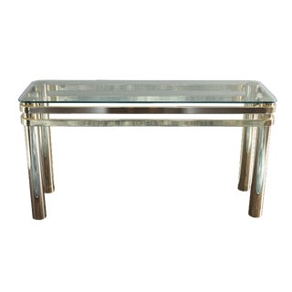 Milo Baughman Style Brass & Glass Console Table