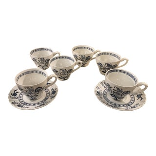Blue Nordic Pattern Cups & Saucers - Set of 8