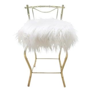 Vintage George Koch Hollywood Regency Brass Faux Bamboo Swivel Chair