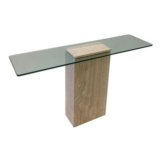Italy Travertine and Glass Console Table