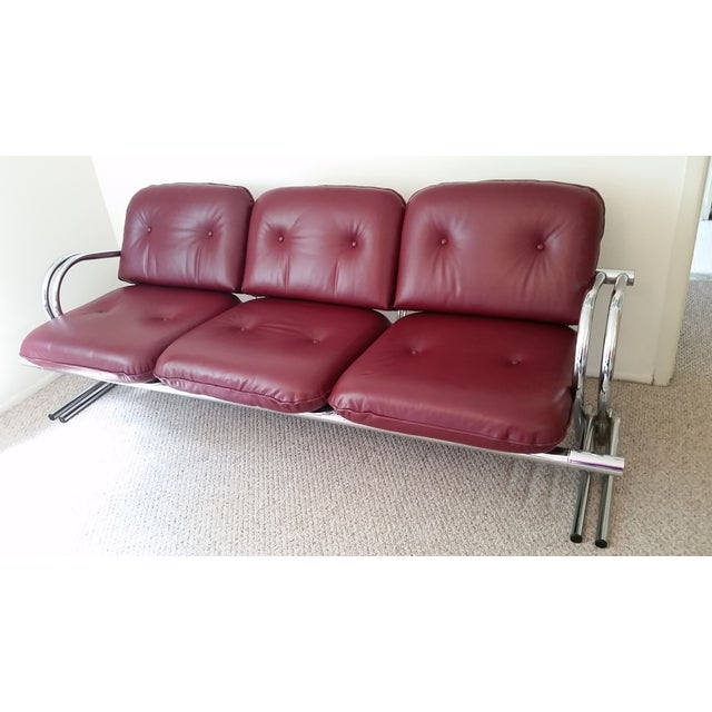 Vintage Chrome 3-Seat Sofa With Foot Stool - Image 2 of 9