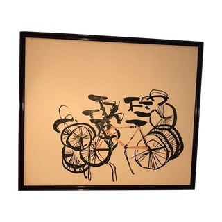 Mid-Century Modern Abstract Bicycle Lithograph