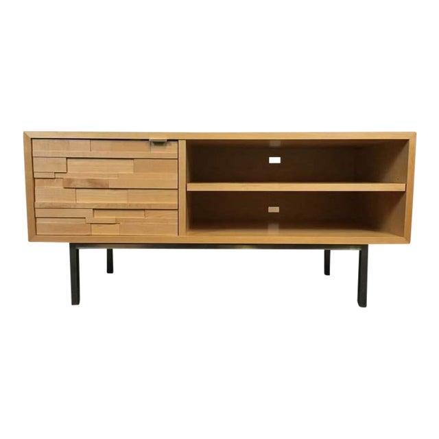 Room & Board Contemporary Laminate Oak & Metal Media Cabinet - Image 1 of 9