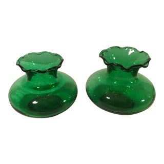 Mid-Century Emerald Green Ruffle Vases- A Pair